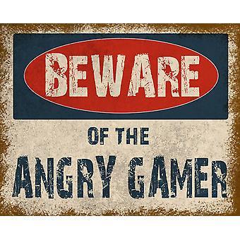 Vintage metalowy znak uważaj na zły gracz