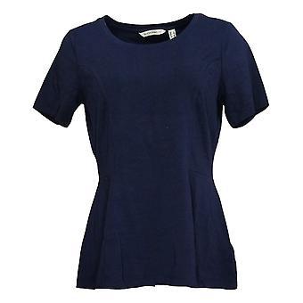 Isaac Mizrahi Live! Women's Top Short-Sleeve Seamed Peplum Blue A354253