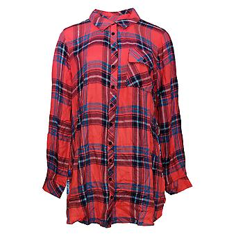 Tolani Collection Women's Top Reg Plaid Tunic Red A383438