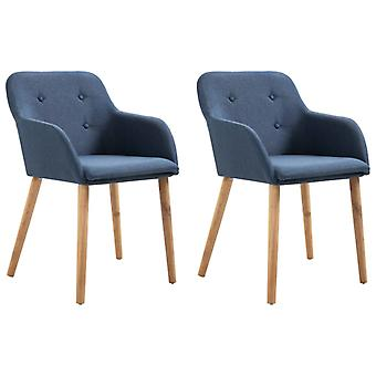 vidaXL dining chairs 2 pcs. blue fabric and solid wood oak