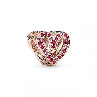 Charms femme Charm Esquisse de C?ur Rouge Rubis et Rose Scintillant Pandora Pandora Moments - 788692C02 Plaqu� Or Rose