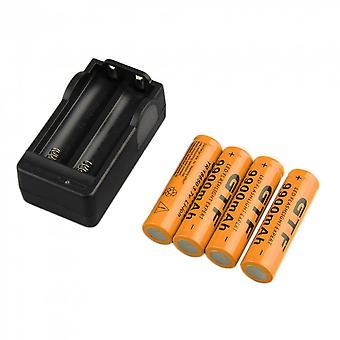 4pcs 18650 3.7v 9900mah Bateria de Li-íon Recarregável + Carregador de Plugue Eu