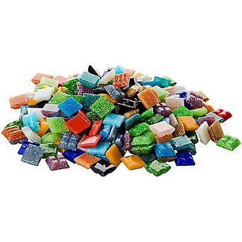 1 Kg Glasmosaik 1x1cm Premium Qualität - ca.1500 Stück Glasmosaiksteine bunt 10x10