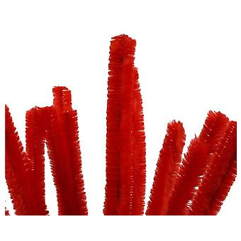 15 Limpadores de tubos super volumosos de 15mm vermelhos | Caules de Chenille