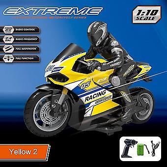 Racing und Drift Motorrad Omidirection Steuerung Kinder Simulation Elektrische RC Spielzeug (Gelb)