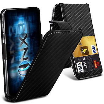 (Carbon Fibre) Sony Xperia XA (2017) Universal Luxury Style Folding PU Leather Spring Clamp Holder Top Flip Case with 2 Cards Slot, Slide Up and Down Camera