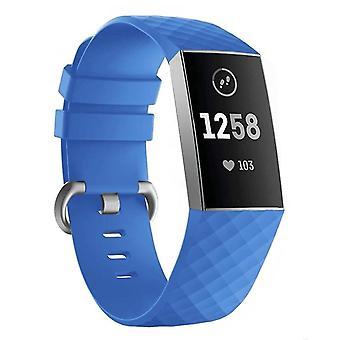 Pulsera de silicona compatible con Fitbit Charge 3 (Azul)