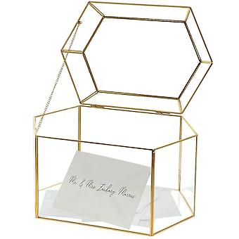 OnDisplay Luxe Gold Frame Glass Wedding Card Box w/Lid - Clear Gift/Money Box - Bar Mitzvah/Birthday/Sweet 16/Anniversary