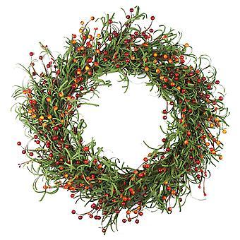 محاكاة الأخضر ورقة بيري اكليل عيد الشكر إكليل الخريف الحصاد اكليلا من الزهور