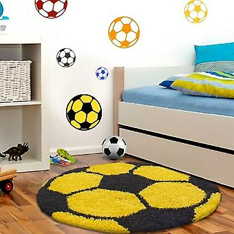 Tapis d'enfant pour les chambres d'enfants football en forme de haut-flor tapis jaune-noir