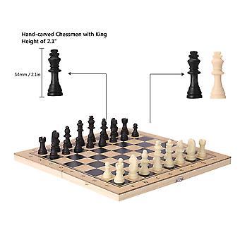 שלושה באחד משחק עץ שחמט קיפול צעצועים חינוכיים לילדים שחמט