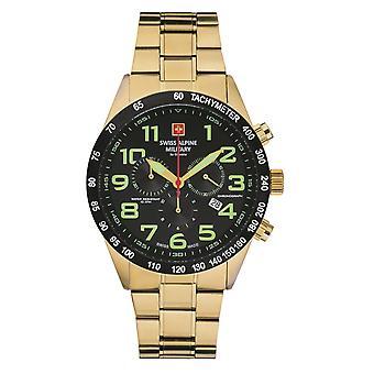Schweizisk alpin militär herrklocka kronograf analog kvarts 7047.9117SAM rostfritt stål