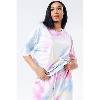 Hype Dames/Dames Pastel Rainbow Tie Dye Logo T-Shirt