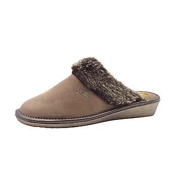 Nordikas 1357 Riviera Luxury Ladies Mule Slippers In Stone Suede
