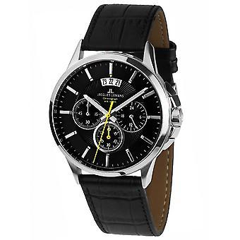 Jacques Lemans Negro Cuero Genuino 1-1542A Reloj de Hombre
