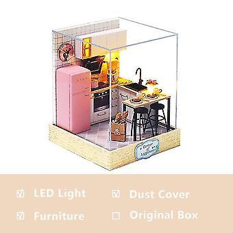 Mini Puppenhaus Casa kostenlose Staubabdeckung DIY Holz Puppenhaus Miniaturen Kit Puppenhaus Möbel