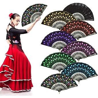 8pcs Pfau Muster Pailletten Stoff Hand Fan