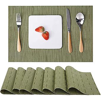 Table Mat 8-piece Set Of Indoor Placemat, Washable Non-slip Heat-resistant Woven Placemat (green)