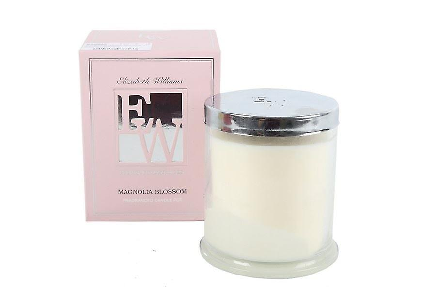 9X10 WAX FILLED CANDLE IN GLASS POT MAGNOLIA BLOSSOM FRAGRANCE