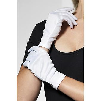 Woman size short white gloves Micky Maus