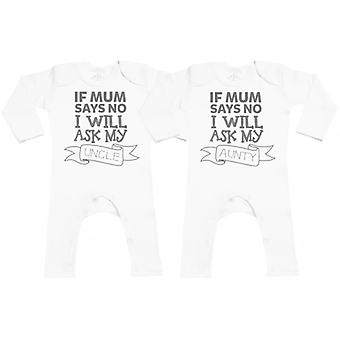 Spoilt Rotten If Mum Says No Ask Uncle/Aunty Baby Footless Romper Twins Set