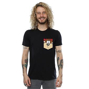 Looney Tunes Tasmanischer Teufel Gesicht Faux Pocket T-Shirt für Männer