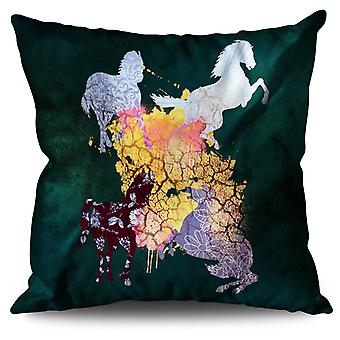 Horse Cool Animal Linen Cushion 30cm x 30cm | Wellcoda