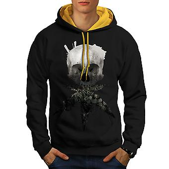 Skull Cannabis Pot Men Black (Gold Hood)Contrast Hoodie | Wellcoda