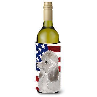 Grey Standard Poodle Patriotic Wine Bottle Beverge Insulator Hugger