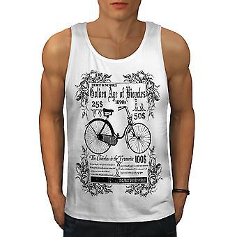 Old School Bike Vintage Men WhiteTank Top | Wellcoda