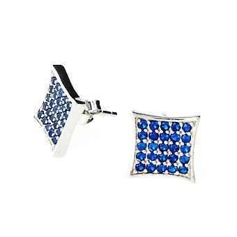 Sterling 925 Silver earrings - CRYSTAL 10 mm royal blue