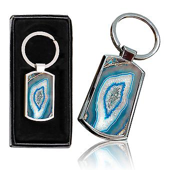 i-Tronixs - Premium Marble Design Chrome Metal Keyring with Free Gift Box (1-Pack) - 0059