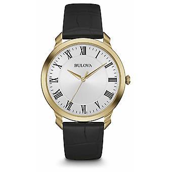 Bulova Men's Black Leather Strap White Dial 97A123 Watch