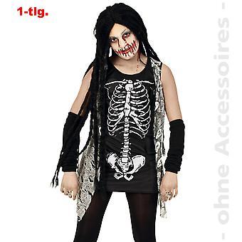Zombie Skelettkleid Horror Mädchen Untote Halloween Teenager Kostüm