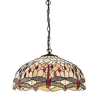 Interiors 1900 Beige Dragonfly Large 3 Light Ceiling