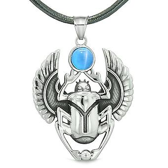 Amulett ägyptische Skarabäus Wiedergeburt spirituellen Leben macht Aqua Blue simulierten Katzen Auge Anhänger Halskette