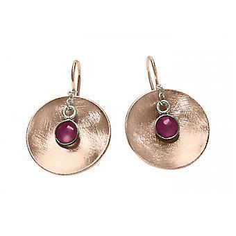 GEMSHINE örhängen Örhängen solid 925 silver Rose guldpläterad med röda rubiner