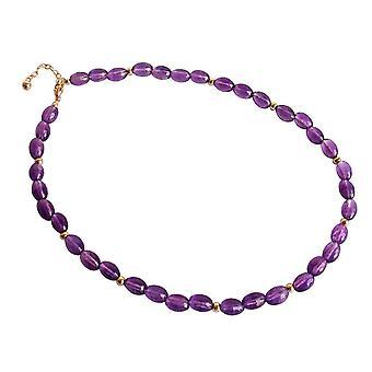 Gemshine - Femmes -Necklace - Plaqué Or - Amethyst - Coupe ovale - Violet