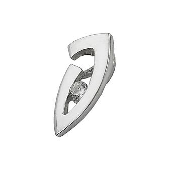 Mini pendant in white gold-375 pendant with cubic zirconia, 9 KT white gold