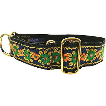 Dogcrafts Martingale 40mm Navy Blue Orange Gold & Green Jacquard Ribbon Brass Dog Collar