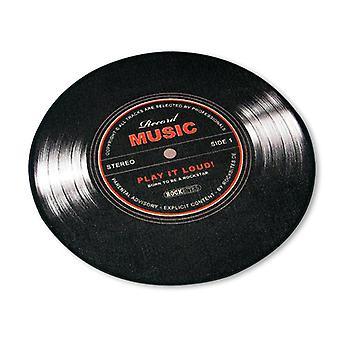 Record Music Teppich klein Schallplatte schwarz, 100% Polyester mit Baumwollkante, mit Noppenr³ckseite.