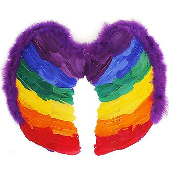TRIXES Rainbow Feather Angel Wings  Adult Size 55 x55cm  Multicolour Fancy Dress Accessory