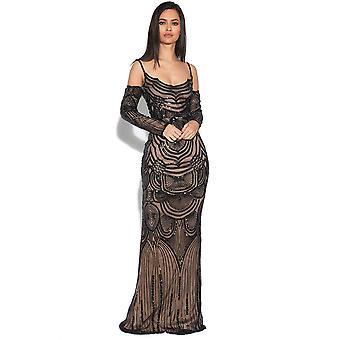 Luxe illusie verfraaid zeemeermin jurk