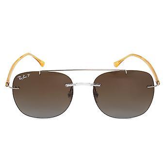 Ray-Ban Square zonnebrillen RB4280 6288T5 55 | Zilveren metalen frame | Gepolariseerde bruine lenzen