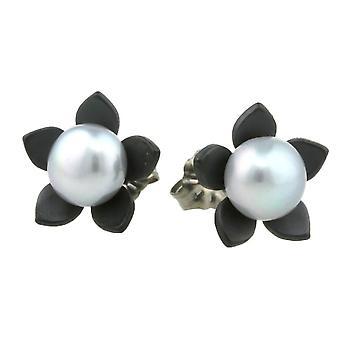 Ti2 Titanium Large Flower and Pearl Stud Earrings - Black