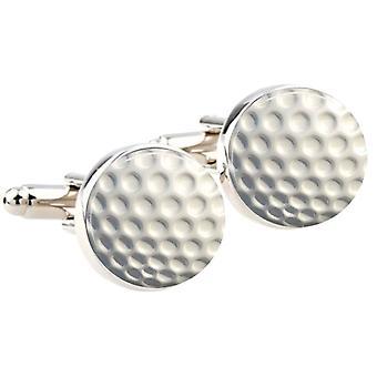 Bassin och bruna runda Golf Ball manschettknappar - vit
