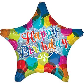Anagram 18in Happy Birthday Sparkle Balloons Star Foil Balloon