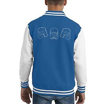Originele Stormtrooper Line Art silhouet Trio Kid's Varsity Jacket