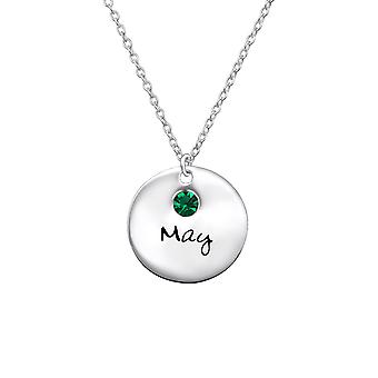 May Birthstone - 925 Sterling Silver Jewelled Necklaces - W30218x