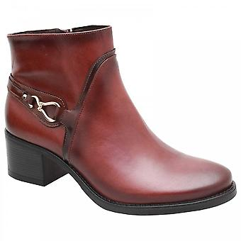 Luis Gonzalo Medium Block Heel Tan Leather Ankle Boot